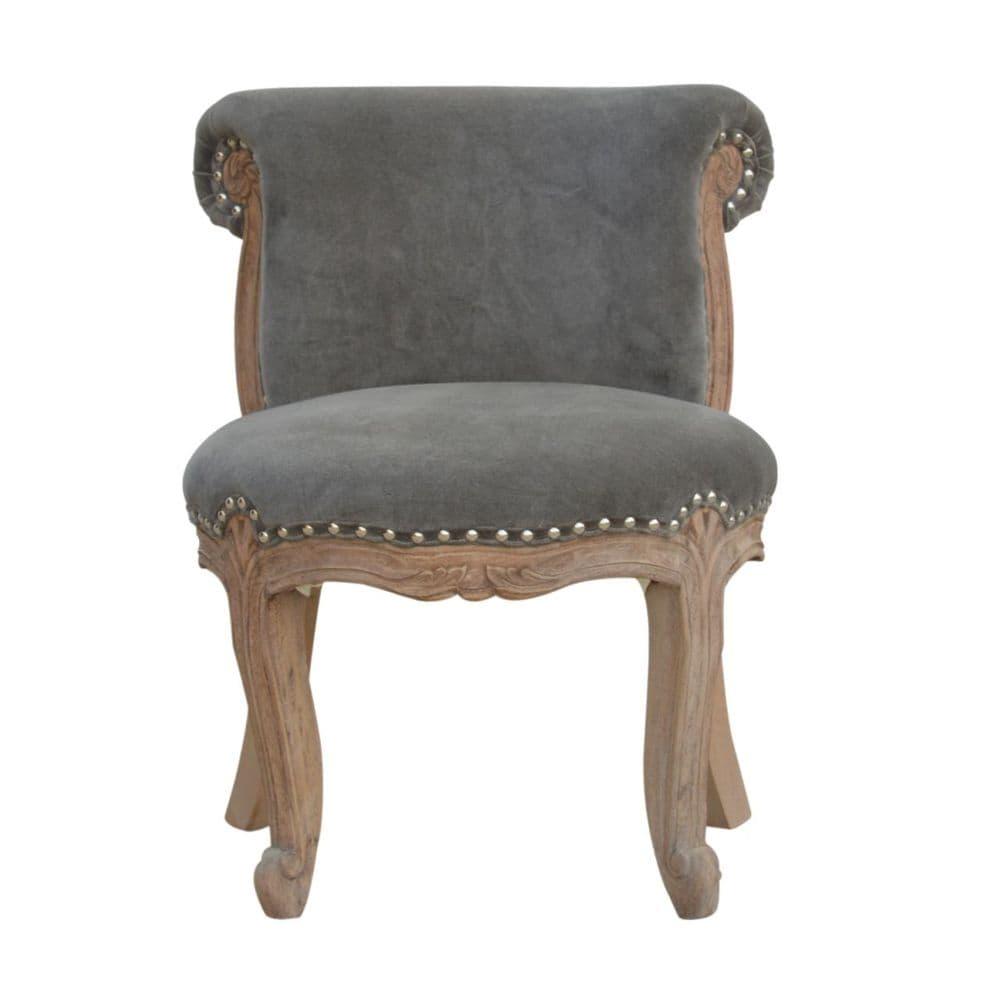 Grey Velvet Studded Chair
